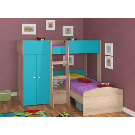 фото двухъярусная кровать Голден Кидс-4 угловая, корпус дуб сонома, фасад голубой