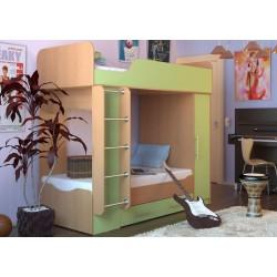 кровать двухъярусная Дуэт-2 арт. 14.714 цвет Бук / салатовый