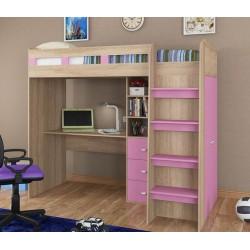 кровать-чердак Голден Кидс-5 корпус дуб сонома, фасад розовый