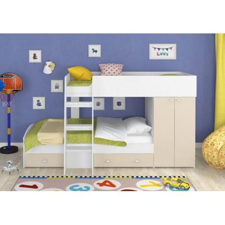 фото двухъярусная кровать Голден Кидс-2 со шкафом корпус белый, фасад бежевый