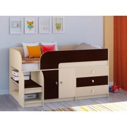 мини кровать чердак Астра-9 V1 дуб молочный / венге