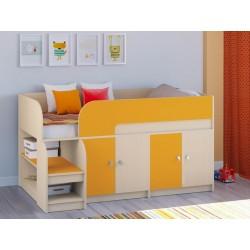 мини кровать чердак Астра-9 V2 дуб молочный / оранжевый