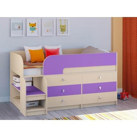 мини кровать чердак Астра-9 V3 дуб молочный / фиолетовый