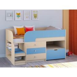 мини кровать чердак Астра-9 V5 дуб молочный / голубой
