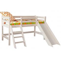 Кровать низкая Соня с наклонной лестницей и горкой вариант №14