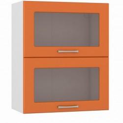 Шкаф навесной 600 горизонтальный 2 витрины Сандра