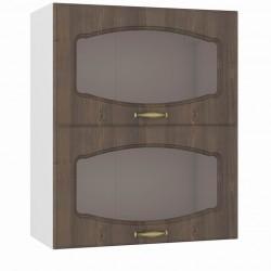 Шкаф навесной 600 горизонтальный 2 витрины Сильвия