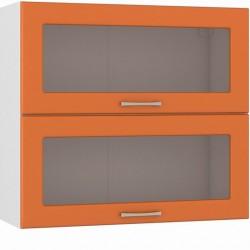 Шкаф навесной 800 горизонтальный 2 витрины Сандра