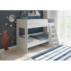 белая кровать двухъярусная Легенда-25.1 лестница справа
