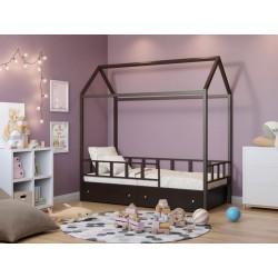 кровать-домик Риччи с ящиками коричневый / венге