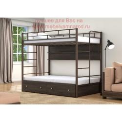 кровать двухъярусная Валенсия Твист 120 с полкой и ящиками