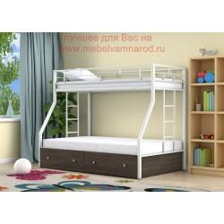 кровать двухъярусная Милан с ящиками цвет белый - венге
