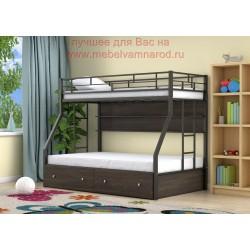 кровать двухъярусная Милан с полкой и ящиками, цвет черный - венге