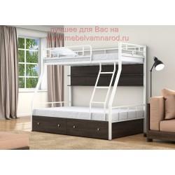 кровать двухъярусная Раута с полкой и ящиками