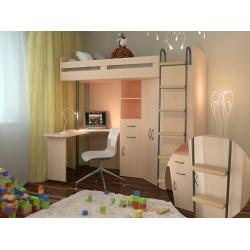 кровать-чердак М85 с деревянными ступеньками