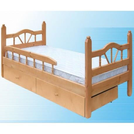 деревянная кровать односпальная ЛУЧ-1 детская с бортиком и ящиками