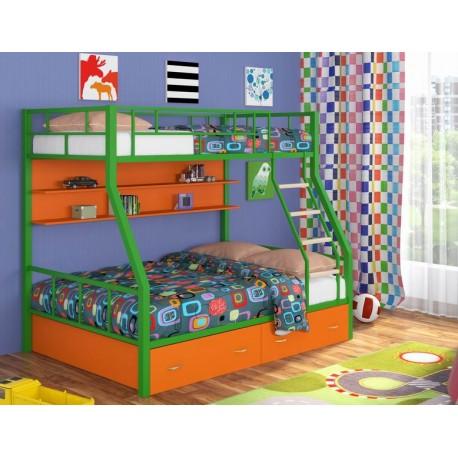 фото кровать двухъярусная Радуга лестница с деревянными ступенями
