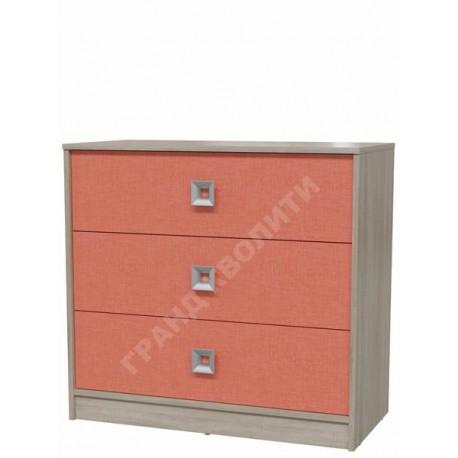 4-4421 Комод с тремя ящиками Сити цвет коралл