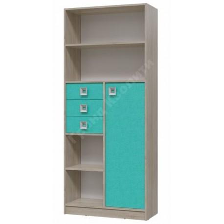 6-9414 Шкаф стеллаж с дверкой и ящиками Сити фасад аква