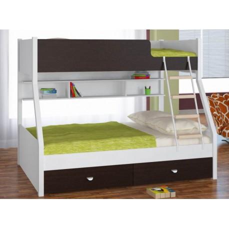 фото двухъярусная кровать Голден Кидс-3 корпус белый, фасад венге