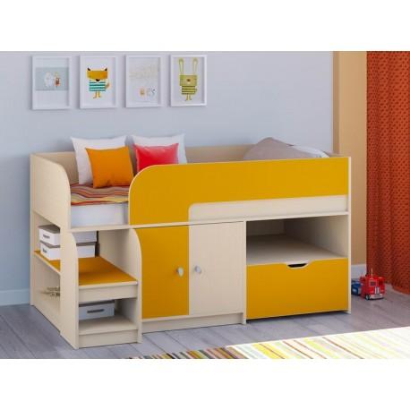 мини кровать чердак Астра-9 V4 дуб молочный / оранжевый