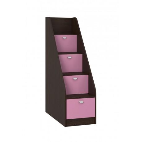 Лестница-комод L-K корпус венге, фасад розовый