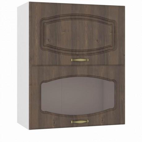 Шкаф навесной 600 горизонтальный 1 витрина 1 дверь Сильвия