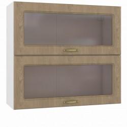 Шкаф навесной 800 горизонтальный 2 витрины Эмили