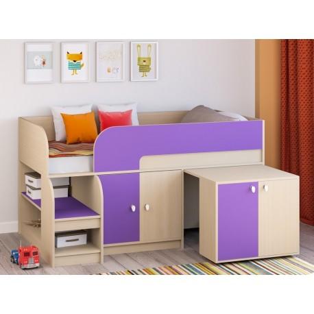 мини кровать чердак Астра-9 V8 молочный дуб / фиолетовый