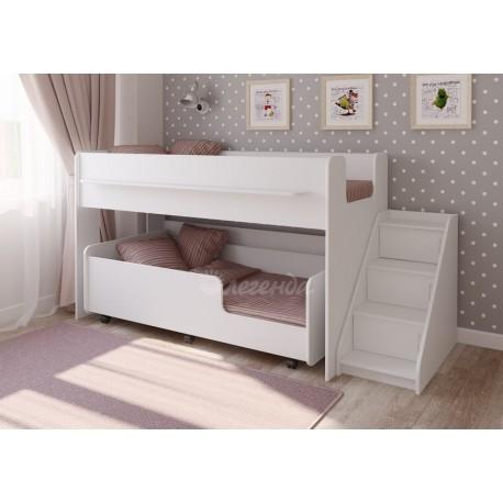 белая кровать двухъярусная Легенда-23.4