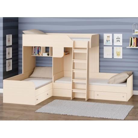 двухъярусная кровать Трио цвет Дуб молочный - Дуб молочный