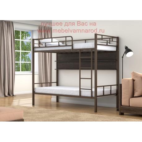 фото кровать двухъярусная Валенсия с полкой