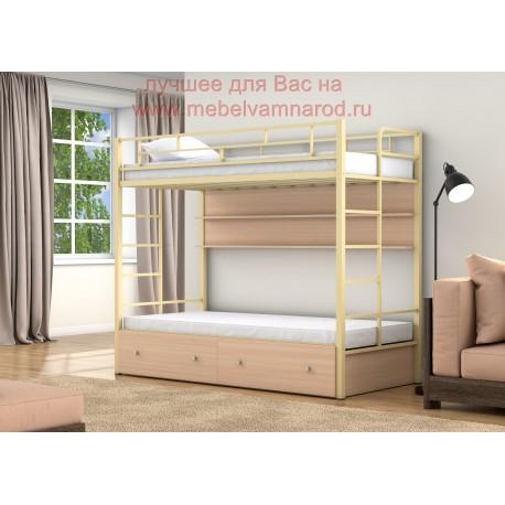 фото кровать двухъярусная Валенсия Твист с полкой и ящиками