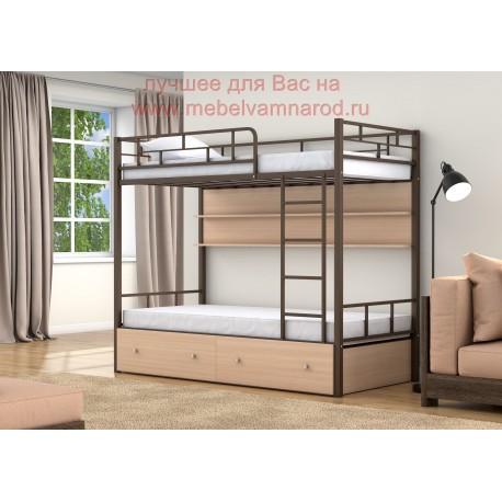 фото кровать двухъярусная Валенсия с полкой и ящиками