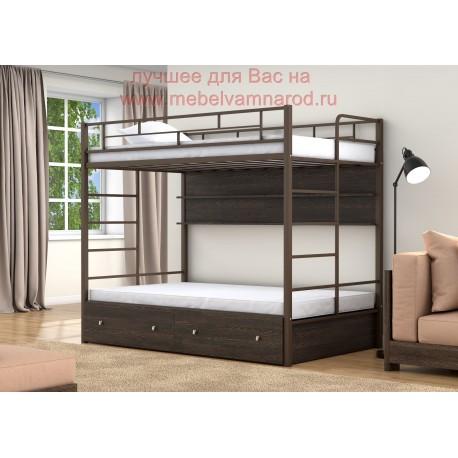 фото кровать двухъярусная Валенсия Твист 120 с полкой и ящиками