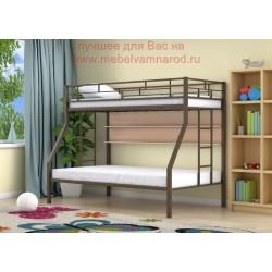 кровать двухъярусная Милан с полкой цвет коричневый - дуб молочный