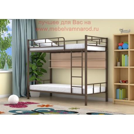 кровать двухъярусная Ницца с полкой в цвете коричневый - дуб молочный
