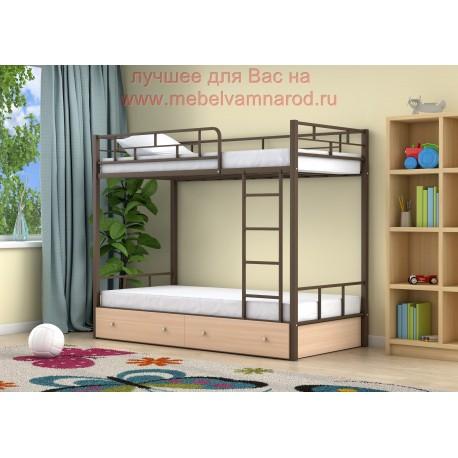 кровать двухъярусная Ницца с ящиками в цвете коричневый - дуб молочный