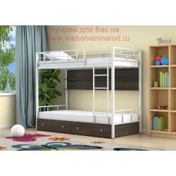 кровать двухъярусная Ницца с полкой и ящиками