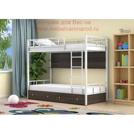 фото кровать двухъярусная Ницца с полкой и ящиками в цвете белый - венге