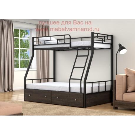фото кровать двухъярусная Раута с ящиками цвет черный - венге