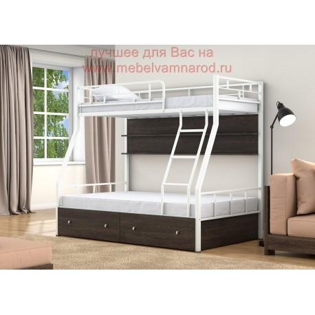 фото кровать двухъярусная Раута с полкой и ящиками цвет белый - венге