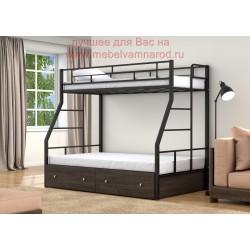 фото кровать двухъярусная Раута Твист с ящиками цвет черный - венге