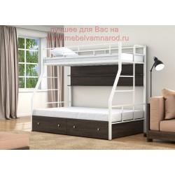 фото кровать двухъярусная Раута Твист с полкой и ящиками цвет белый - венге